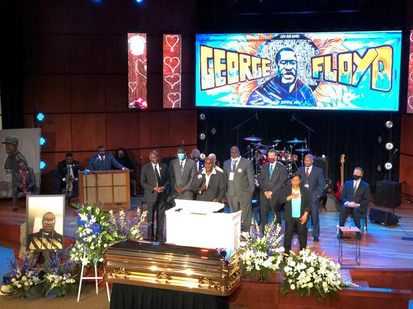 Members of George Floyd's family, including his brother Philonise Floyd (center), speak during a memorial service Thursday at North Central University's Frank J. Lindquist Sanctuary in Minneapolis.