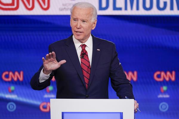 In this Sunday, March 15, 2020, file photo, former Vice President Joe Biden participates in a Democratic presidential primary debate at CNN Studios in Washington.