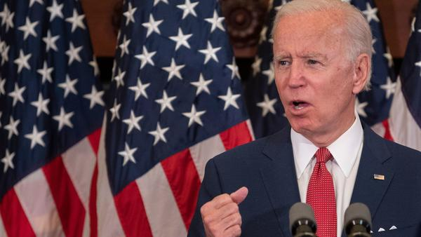 Democratic presidential candidate Joe Biden speaks in Philadelphia on Tuesday about the unrest over racism and police brutality. On Monday, his campaign put out a statement opposing efforts to defund police.