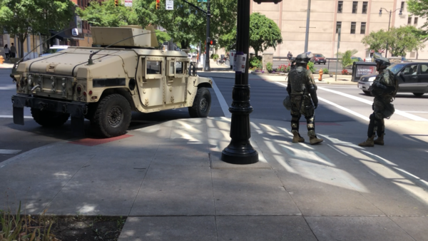 Ohio National Guard set up in Columbus during George Floyd and Black Lives Matter protests.