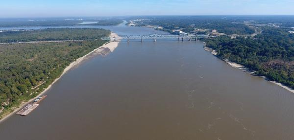 The Mississippi River near Vicksburg, Mississippi, looking northeast at the I-20 bridge in October 2016. The confluence of the Yazoo River is in the foreground.