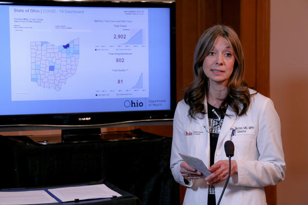 Dr. Amy Acton speaks at a press conference on April 2, 2020.
