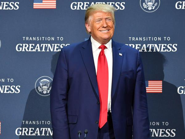 President Trump arrives for a roundtable with faith leaders and small business owners at Gateway Church Dallas Campus in Dallas on Thursday.
