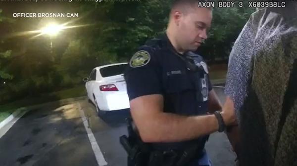 Atlanta Police officer Garrett Rolfe as he tried to take Rayshard Brooks into custody. Rolfe was fired after he fatally shot Brooks.