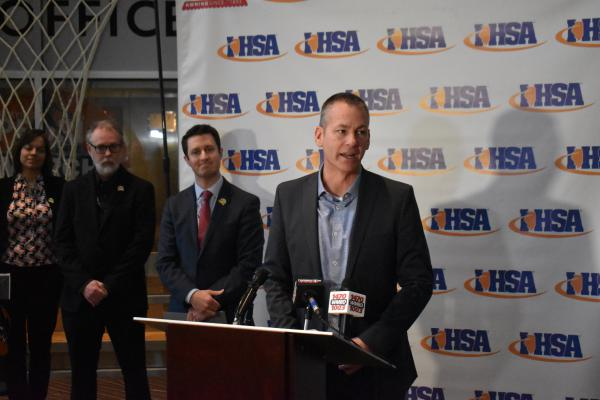 From left to right: Peoria Assistant City Manager Deborah Roethler, Peoria Civic Center General Manager Rik Edgar, Peoria Area Convention and Visitors Bureau CEO J.D. Dalfonso, and IHSA Executive Director Craig Anderson at a press conference in March.