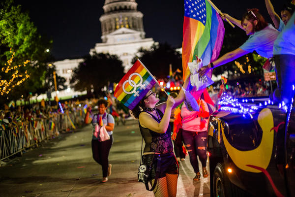 The Austin Pride Parade in 2017 in front of the state Capitol.