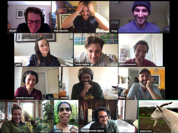 """<em>The Planet Money team on GoToMeeting with a goat (Listen to our recent episode, """"<a href=""""https://www.npr.org/2020/04/24/844230915/episode-994-making-it-work"""">Making It Work</a>"""")</em>"""
