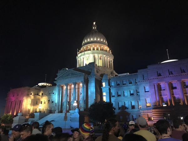 The Boise capitol lights up with rainbow colors during the city's pride event in 2019.