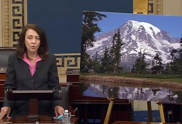 Washington Democratic Sen. Maria Cantwell helped push through the Great American Outdoors Act, speaking on the Senate floor with a picture of Mount Rainier on June 17, 2020.