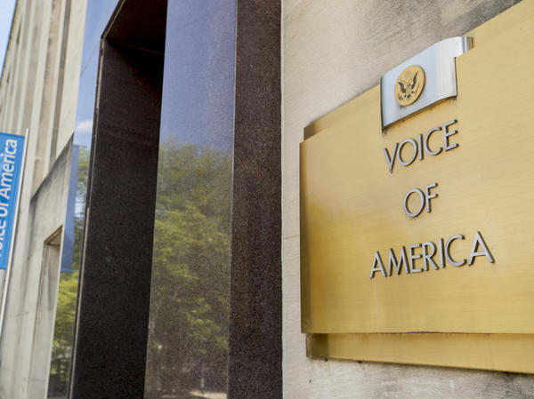 """The Voice of America building, shown Monday, in Washington, D.C. VOA has increasingly <a href=""""https://www.npr.org/2020/04/10/831988148/white-house-attacks-voice-of-america-over-china-coronavirus-coverage"""" data-key=""""9066"""">been a target</a> of the Trump administration."""