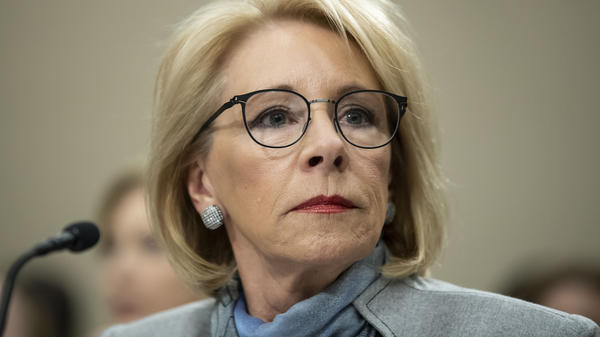 U.S. Education Secretary Betsy DeVos appeared on Capitol Hill in February, just weeks before the pandemic sent the economy reeling. The Education Department recently changed its guidance around reconsidering student financial aid awards.