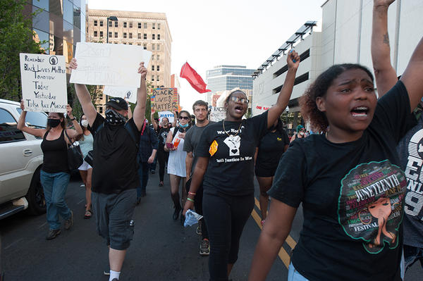 A crowd of protestors march in Tulsa, Okla. on Saturday, June 20, 2020.