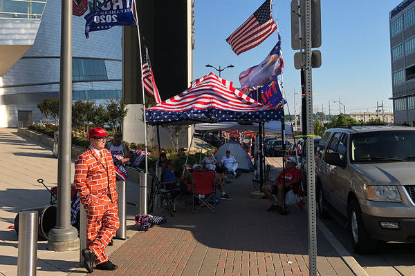 Trump supporters camp outside BOK Center in Tulsa on Thursday, June 18, 2020.