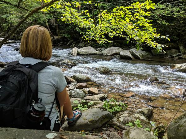 A hiker relaxes in Great Smoky Mountains National Park.