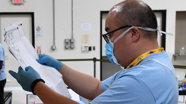 Clark County, Nev., election worker Stean Durias scans mail ballots at the Clark County Election Department this month.