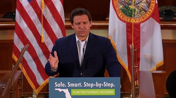 Gov. Ron DeSantis attributed the sharp rise in coronavirus cases in the state to residents in their 20s and 30s