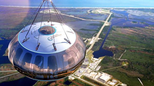 Rendering of Space Perspective's Spaceship Neptune in flight over Florida's Space Coast.