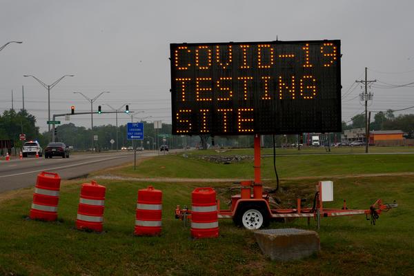 A drive through COVID-19 testing location at Alario Center. New Orleans, Louisiana. April 8, 2020.