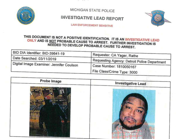 A photo of the suspect in a theft case in Detroit, left, next to the driver's license photo of Robert Williams. An algorithm said Williams was the suspect, but the tool produced a false hit.