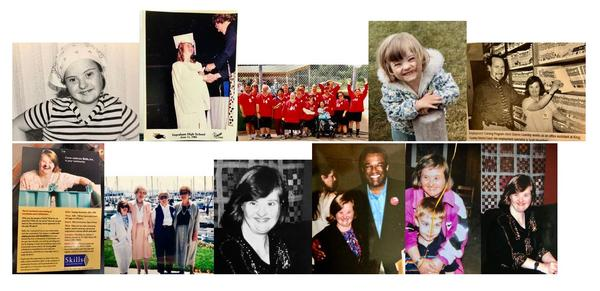 A montage of photos captures special moments in the life of Sharon Gowdey who had Down syndrome and died of COVID-19 in April. People with developmental disabilites appear to have a much higher risk of death from the virus.