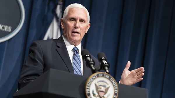Vice President Pence holds a White House Coronavirus Task Force briefing at the Department of Health and Human Services on Friday.