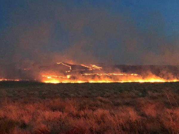 File photo of a brush fire burning in the Rattlesnake Mountain area of Washington's Tri-Cities region in 2019.