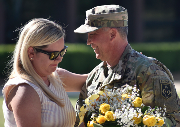 Brig. Gen. James Bonner and his wife, Debra, at the change of command ceremony at Fort Leonard Wood.