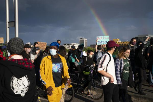 <p>More than a thousand protesters gathered in Portland in the third week of widespread demonstrations against structural racism and police violence on June 15, 2020.</p>