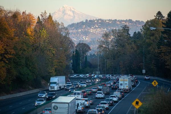 <p>Cars travel along Interstate 5 through Portland, Ore., Friday, Nov. 1, 2019.</p>