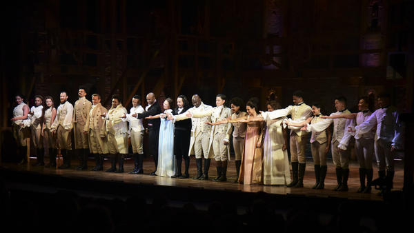 The cast of <em>Hamilton</em>, including its composer and creator, Lin-Manuel Miranda, center, receive a standing ovation in San Juan, Puerto Rico on Jan. 11, 2019. The musical is set to stream on Disney+ this week.