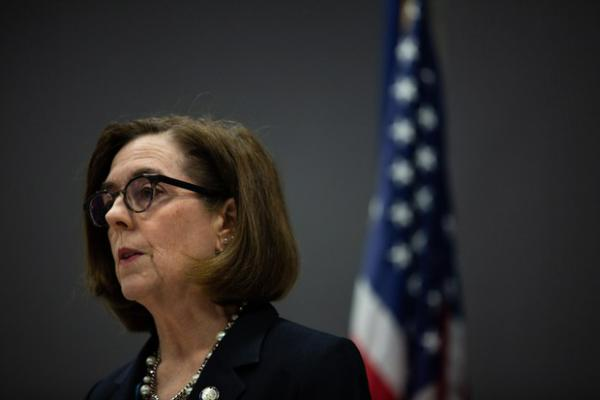 <p>Oregon Gov. Kate Brown speaks at a press conference to address the coronavirus pandemic in Portland, Ore., Friday, March 20, 2020.</p>