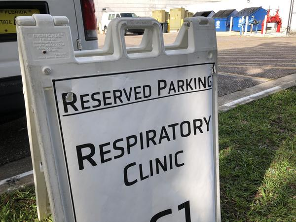 A respiratory clinic at USF Health Morsani where nurses are conducting COVID-19 testing.