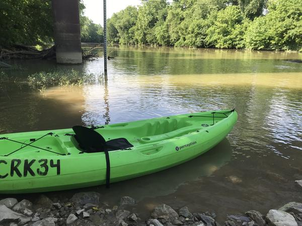 A kayak sits on the Coal River.