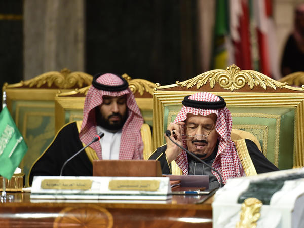 Saudi King Salman bin Abdulaziz (right) and his son Crown Prince Mohammed bin Salman at a session of the 40th Gulf Cooperation Council summit in Riyadh in December.