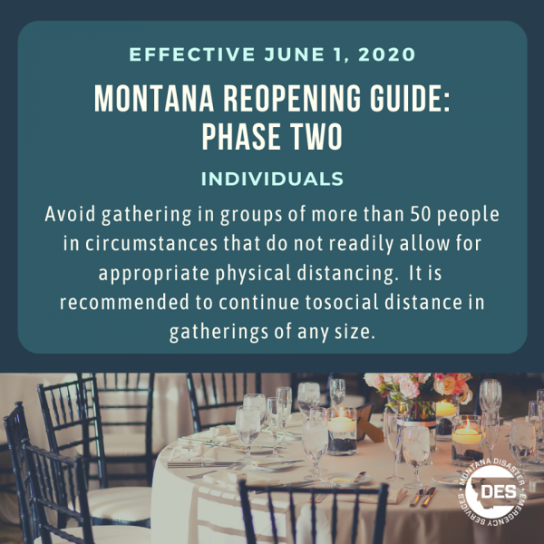 COVID-19 guidelines during phase 2 of Montana's reopening.