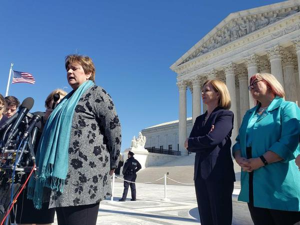 Kathaleen Pittman (left), the administrator of the Hope Medical Group for Women abortion clinic in Shreveport, addresses journalists on the steps of the U.S. Supreme Court on March 4.