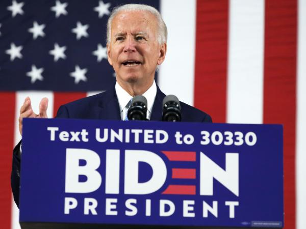 Presumptive Democratic presidential nominee Joe Biden harshly criticizes President Trump's response to the coronavirus pandemic in remarks Tuesday at Alexis duPont High School in Wilmington, Del.