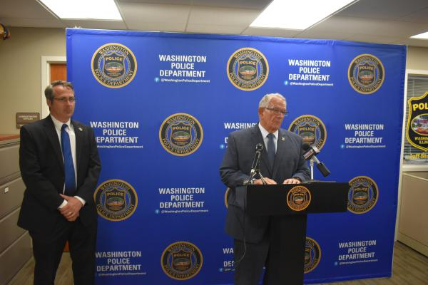 Washington Deputy Police Chief Jeff Stevens, left, and Police Chief Mike McCoy at a press conference on Tuesday, June 30, 2020.