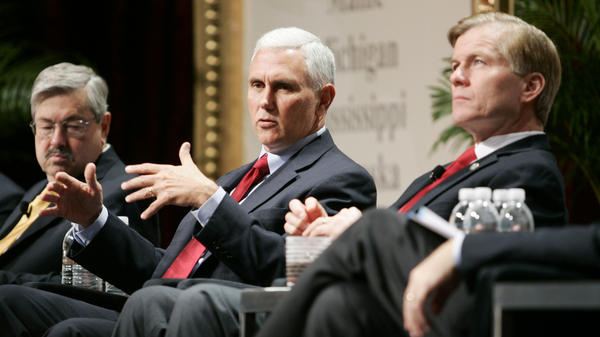 Iowa Gov. Terry Branstad (left), Indiana Gov.-Elect Mike Pence (center) and Virginia Gov. Bob McDonnell, chairman of the Republican Governors Association, participate in a panel discussion during the 2012 RGA Annual Conference on Thursday in Las Vegas.