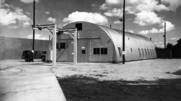 "A Quonset hut on the grounds of the Los Alamos National Lab in New Mexico where ""Fat Man"" was assembled in World War II. Fat Man was the nickname given to the atomic bomb dropped on Nagasaki, Japan, on Aug. 9, 1945. The hut would be part of a new Manhattan Project National Park."