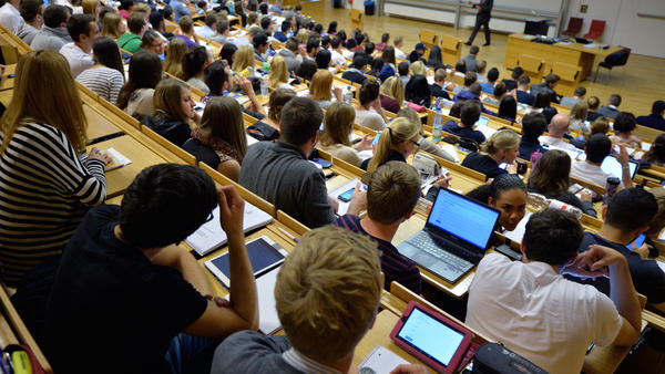Laptops are common in lecture halls worldwide. Students hear a lecture at the Johann Wolfang Goethe-University on Oct. 13, 2014, in Frankfurt am Main, Germany.