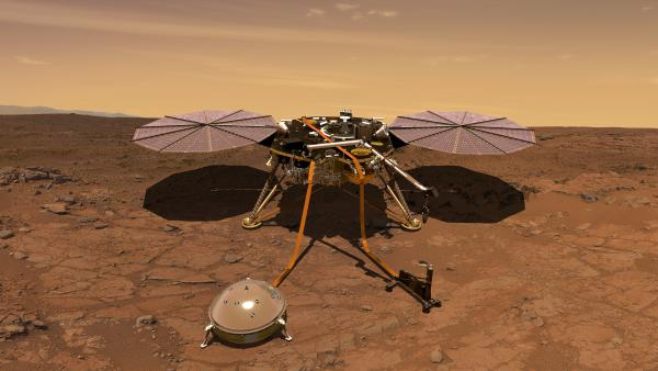 An artist's rendition of NASA's InSight lander, which is expected to launch on Saturday morning. InSight will monitor the Red Planet's seismic activity and internal temperature.