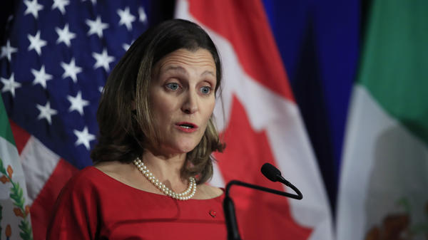 "Canadian Minister of Foreign Affairs Chrystia Freeland speaks during negotiations for a new North American Free Trade Agreement in October. ""We know that a win-win-win agreement is within reach and that is what we are working toward,"" she said Friday."