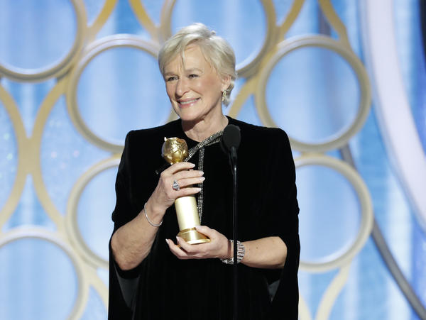 Glenn Close accepts the best actress in a motion picture – drama award for her role in <em>The Wife</em> during the 76th Golden Globe Awards.