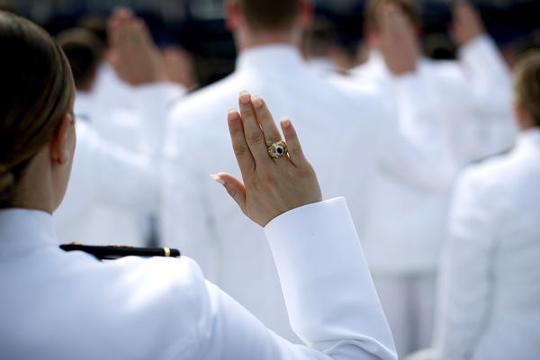 2017 graduation and commissioning ceremony at the U.S. Naval Academy. An anonymous Pentagon survey found that 747 students at the Navy, Army and Air Force academies experienced unwanted sexual contact during the past year, a nearly 50 percent increase from a similar survey taken two years earlier.
