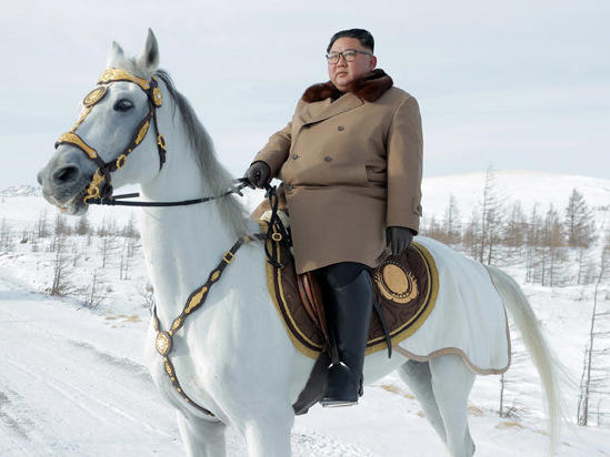 In this undated photo, North Korean leader Kim Jong Un makes a symbolic visit to Mt. Paektu in the country's north.