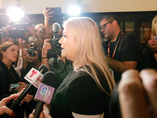 Puerto Rico Gov. Wanda Vázquez, pictured in November, faces controversy over potential corruption following the discovery of a warehouse full of disaster supplies, some dating back to 2017's Hurricane Maria.