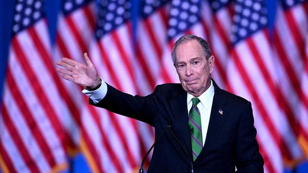 Former New York City Mayor Mike Bloomberg speaks to supporters and staff Wednesday after suspending his Democratic presidential campaign.