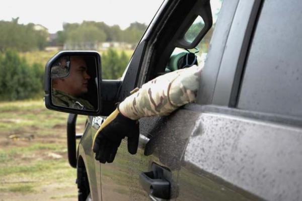National Guard Specialist Joshua Smoak, a camera operator, sits inside a Mobile Video Surveillance System Truck in Rio Grande City, Texas.