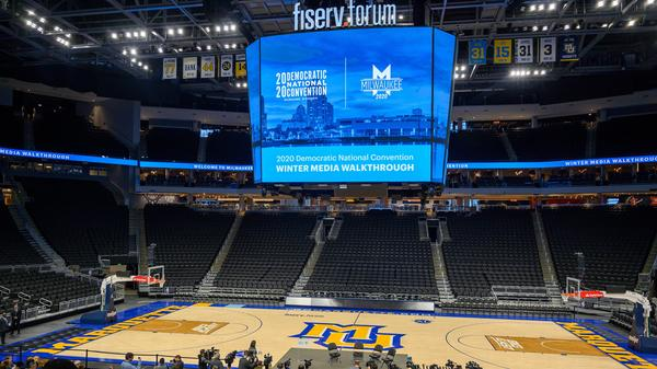 The floor of the Fiserv Forum is seen during a January media walkthrough ahead of the Democratic National Convention in Milwaukee. The convention has been pushed back a month, to mid-August.